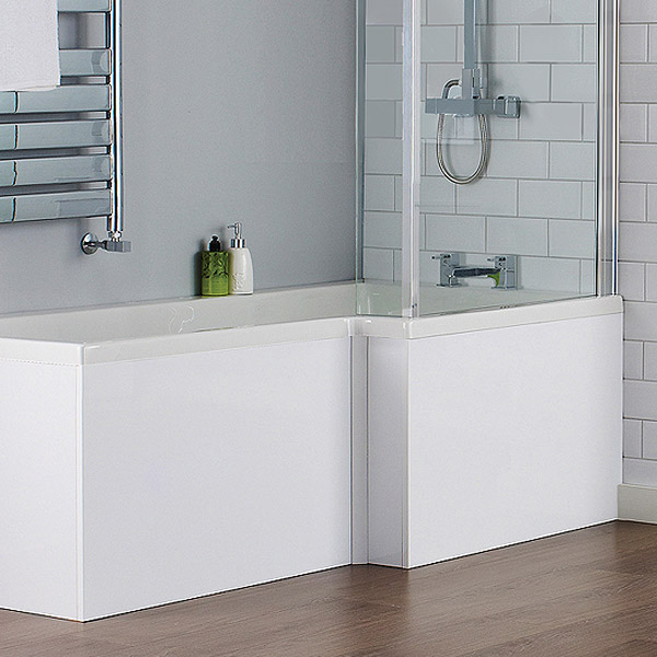Milan Square Shower Bath - 1700mm Inc. Double Hinged Screen + MDF Panel profile large image view 2