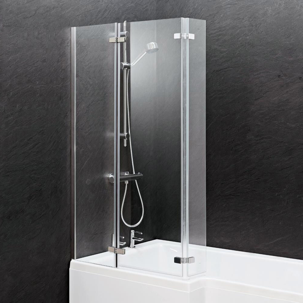 Milan Square Shower Bath - 1700mm Inc. Double Hinged Screen + MDF Panel profile large image view 3