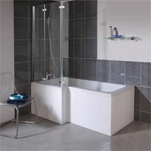 Milan Square Shower Bath - 1700mm Inc. Double Hinged Screen & MDF Panel Medium Image