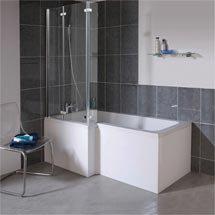 Milan Square Shower Bath - 1700mm Inc. Double Hinged Screen & MDF Panel Medium Image