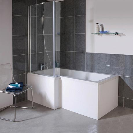 Milan Square Shower Bath - 1700mm Inc. Screen & MDF Panel