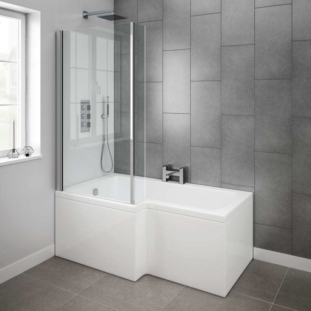 Milan Shower Bath - 1500mm L Shaped with Screen & Panel Feature Large Image