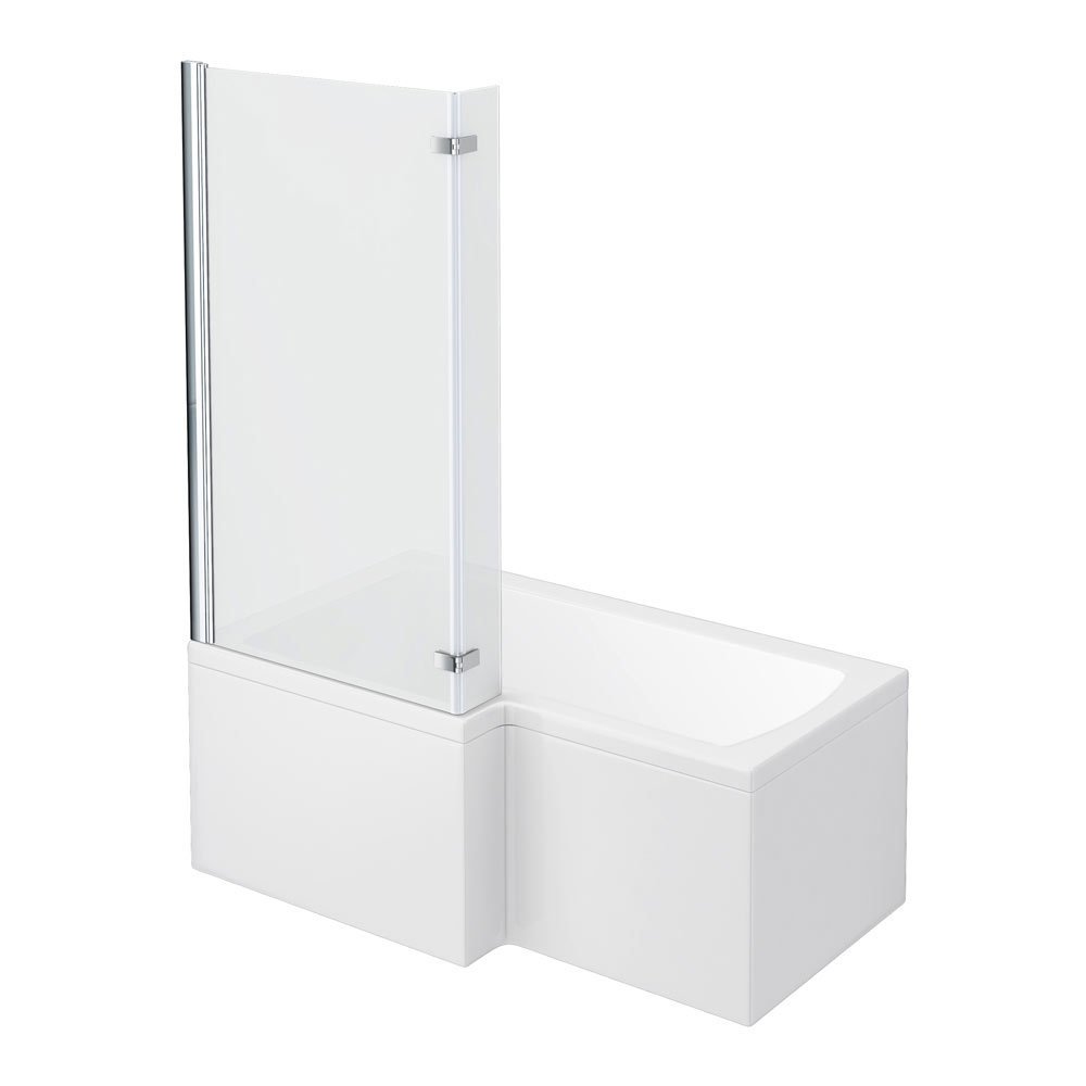 Milan Shower Bath - 1500mm L Shaped with Hinged Screen + Panel