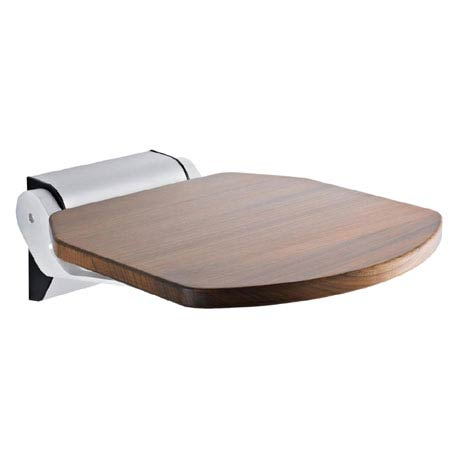Hudson Reed Luxury Wooden Shower Seat with Aluminum Hinges - LA372