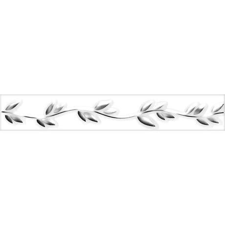 Laura Ashley - 6 Highgate Leaf White/Silver Gloss Strips - 248x40mm - LA50587