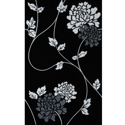 Laura Ashley - 10 Isadore Floral Black/White Wall Gloss Tiles - 248x398mm - LA50907 Large Image