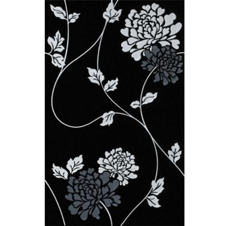 Laura Ashley - 10 Isadore Floral Black/White Wall Gloss Tiles - 248x398mm - LA50907