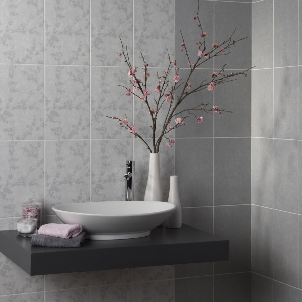 Laura Ashley - 10 Wintergarden Dark Grey Wall Gloss Tiles - 248x398mm - LA51010 Feature Large Image