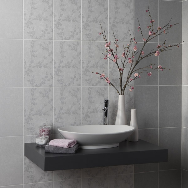 Laura Ashley - 10 Wintergarden Floral Grey Wall Gloss Tiles - 248x398mm - LA51027 Feature Large Image