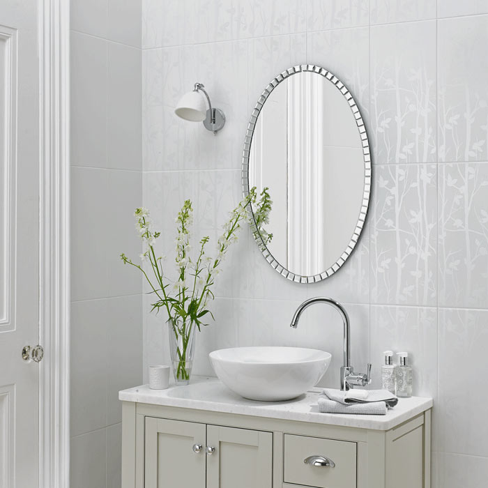 Laura Ashley Cottonwood Feature White Wall Tiles - 248 x 498mm - LA51454 Large Image