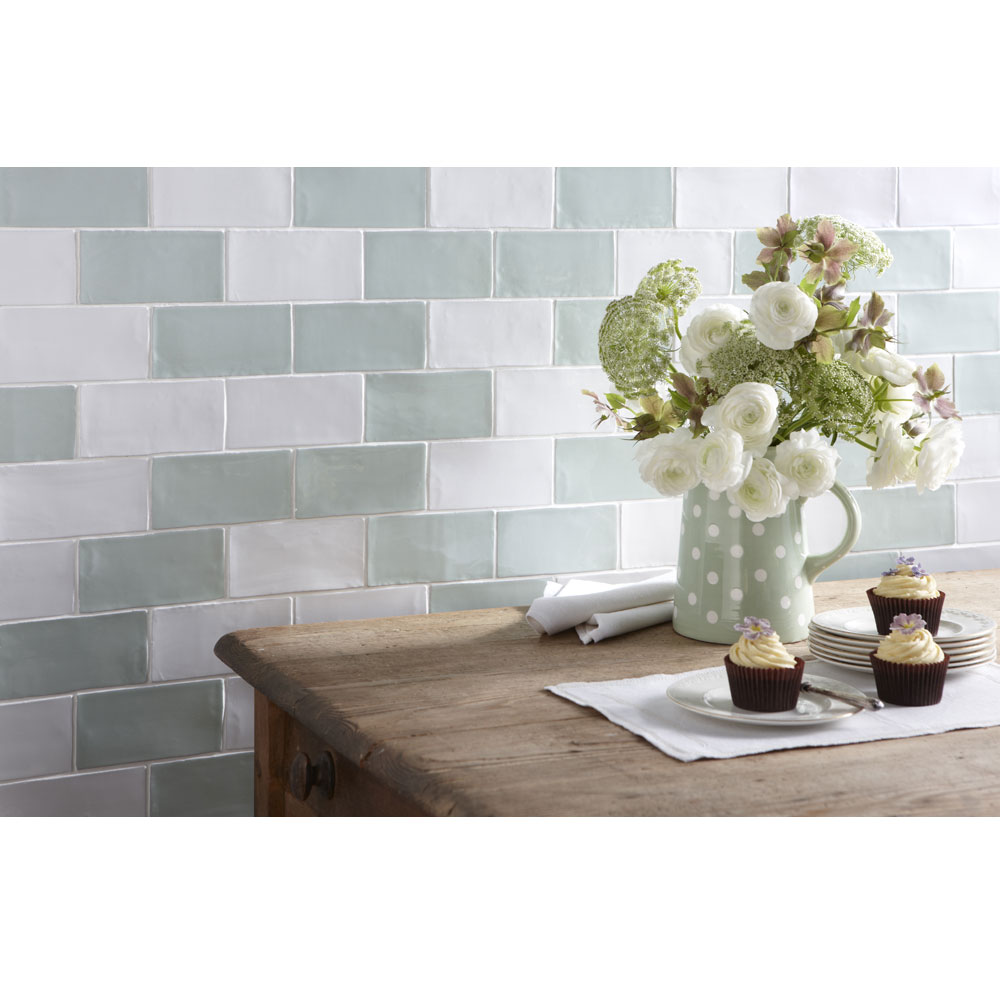Laura Ashley - 22 Artisan Duck Egg Gloss Wall Tiles - 75x300mm - LA51843 Profile Large Image