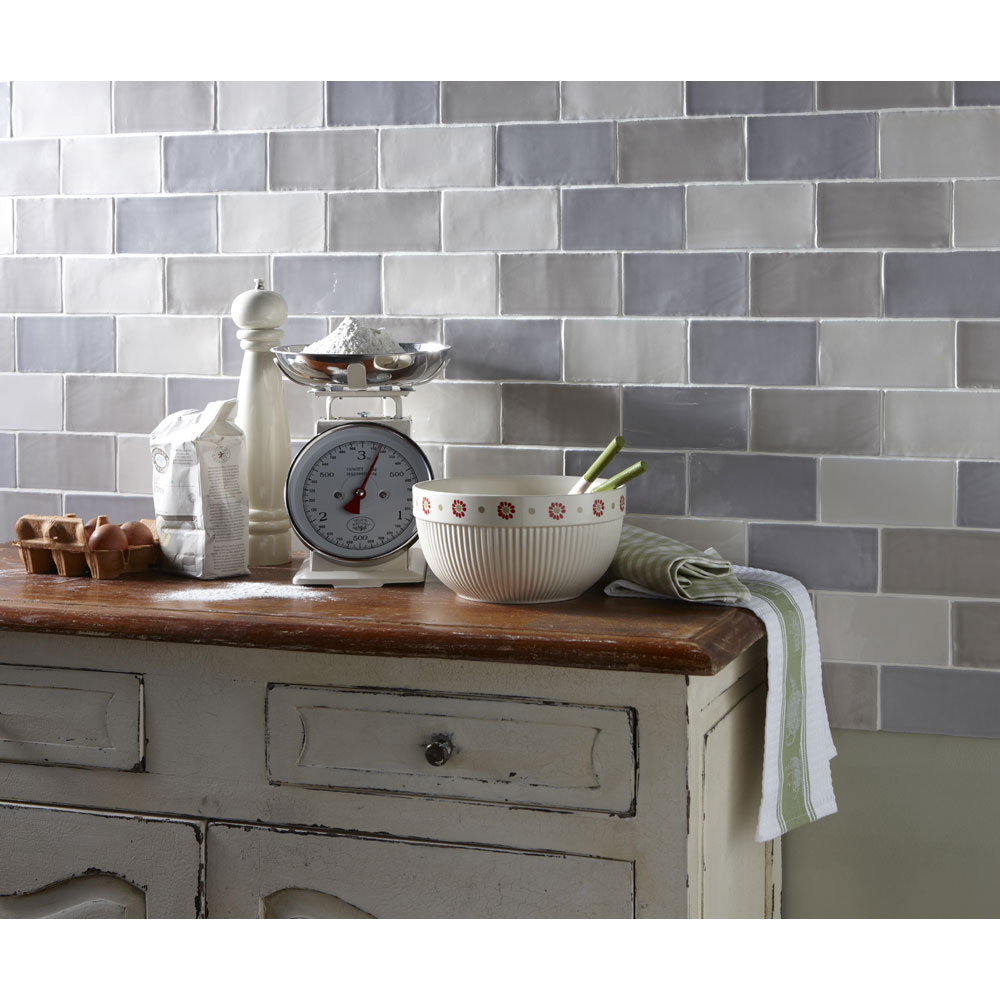 Laura Ashley - 22 Artisan Duck Egg Gloss Wall Tiles - 75x300mm - LA51843 Feature Large Image