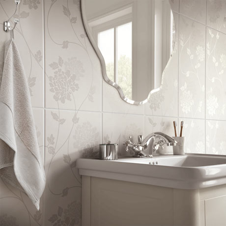 Laura Ashley Isodore Floral White Wall Tiles - 248 x 498mm - LA51898