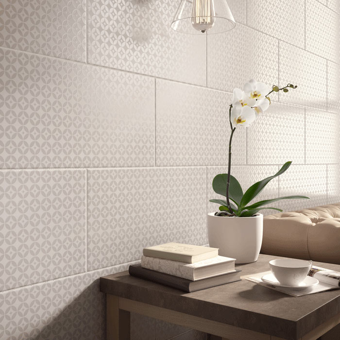 Laura Ashley Finsbury White Wall Tiles - 248 x 498mm - LA51904 Large Image