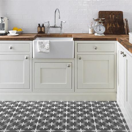Laura Ashley Wicker Charcoal Floor Tiles - 331 x 331mm - LA51980