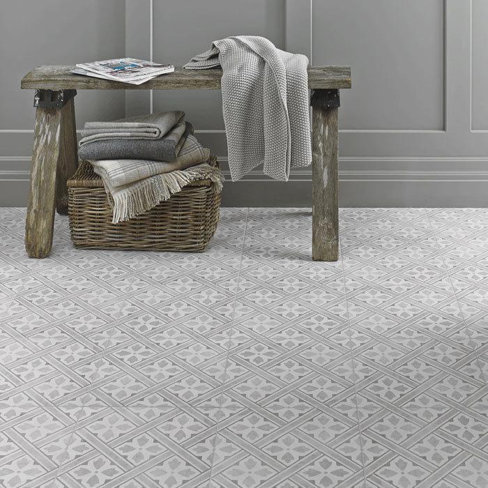 Laura Ashley Mr Jones Dove Grey Floor Tiles - 331 x 331mm - LA52017 Large Image