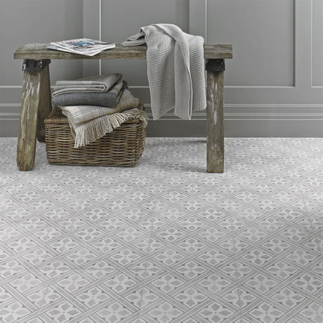 Laura Ashley Mr Jones Dove Grey Floor Tiles - 331 x 331mm - LA52017
