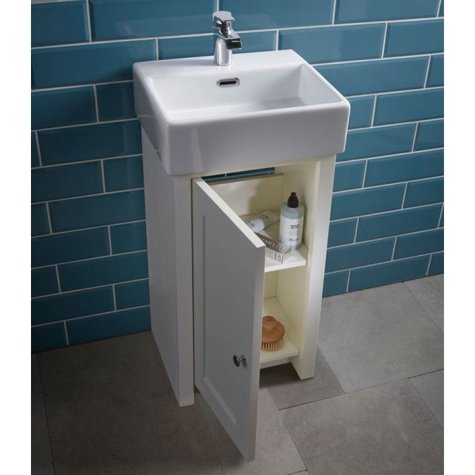 Tavistock Lansdown 400mm Cloakroom Unit with Basin - Linen White profile large image view 2
