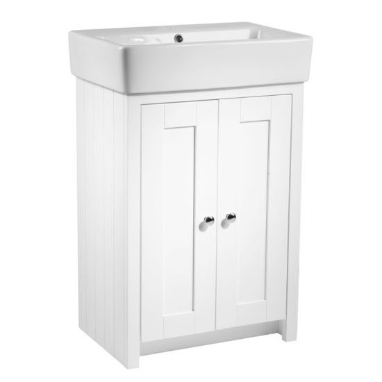 Tavistock Lansdown 550mm Freestanding Unit with Basin - Linen White Large Image
