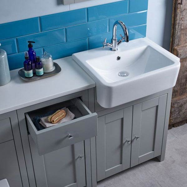 Tavistock Lansdown 700mm Freestanding Unit with Basin - Pebble Grey  Profile Large Image