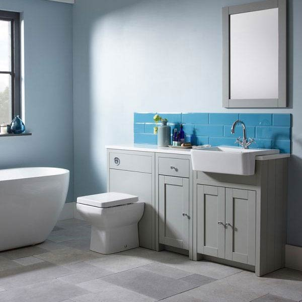 Tavistock Lansdown 700mm Freestanding Unit with Basin - Pebble Grey  Feature Large Image