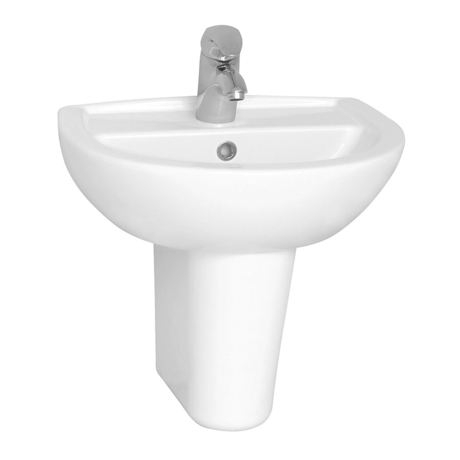 Vitra - Layton Cloakroom Basin and Half Pedestal - 2 Tap Hole - 2 Size Options profile large image view 1
