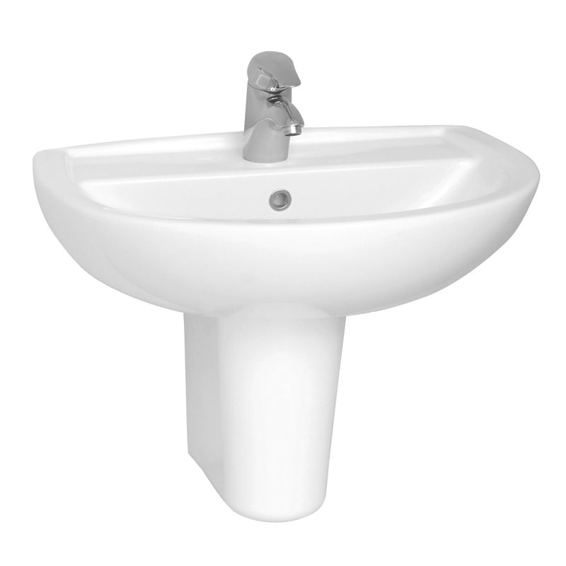 Vitra - Layton Basin and Half Pedestal - 1 Tap Hole - 3 Size Options profile large image view 1