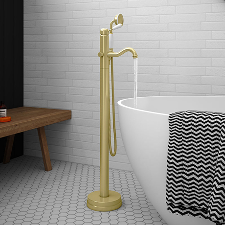 Lancaster Traditional Brushed Brass Single Lever Freestanding Bath Shower Mixer