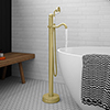 Lancaster Traditional Brushed Brass Single Lever Freestanding Bath Shower Mixer profile small image view 1