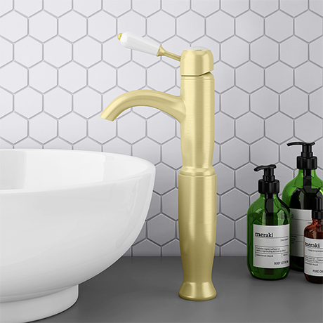 Lancaster Traditional Brushed Brass Tall Mono Basin Mixer Inc. Waste