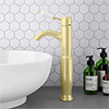 Lancaster Traditional Brushed Brass Tall Mono Basin Mixer inc. Waste profile small image view 1