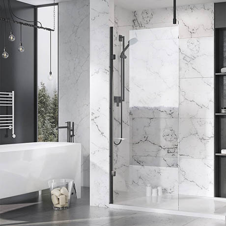 Roman Liberty Black Clear Glass Wetroom Screen + Ceiling Arm Support - Various Sizes (2000mm High)