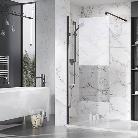 Roman Liberty Black Clear Glass Wetroom Screen + Wall Arm Support - Various Sizes (2000mm High)