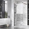 Roman Liberty Black Clear Glass Wetroom Screen + Wall Arm Support - Various Sizes (2000mm High) profile small image view 1