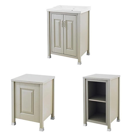 Old London Traditional 600mm Wide Cabinet Package - Stone Grey