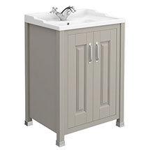 Old London - 600 Traditional 2-Door Basin & Cabinet - Stone Grey - LDF403 Medium Image