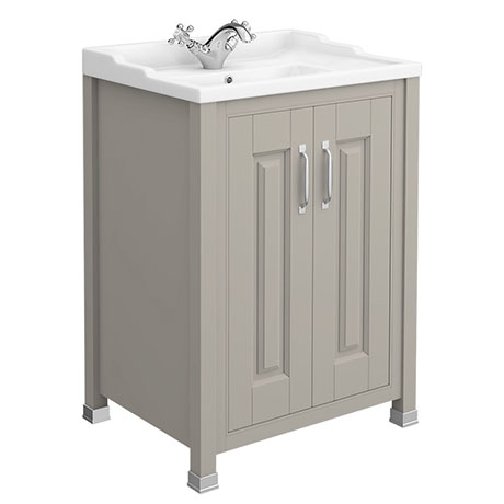 Old London - 600 Traditional 2-Door Basin & Cabinet - Stone Grey - LDF403