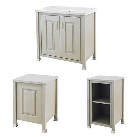 Old London Traditional 800mm Wide Cabinet Package - Stone Grey