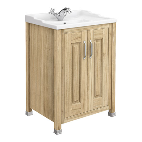 Old London - 600 Traditional 2-Door Basin & Cabinet - Natural Walnut - LDF503
