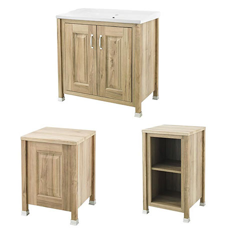 Old London Traditional 800mm Wide Cabinet Package - Natural Walnut