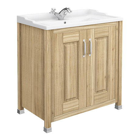 Old London - 800 Traditional 2-Door Basin & Cabinet - Natural Walnut - LDF505