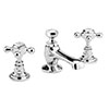 Old London - Chrome Edwardian 3 Tap Hole Basin Mixer with Pop-up Waste - LDN307 profile small image view 1