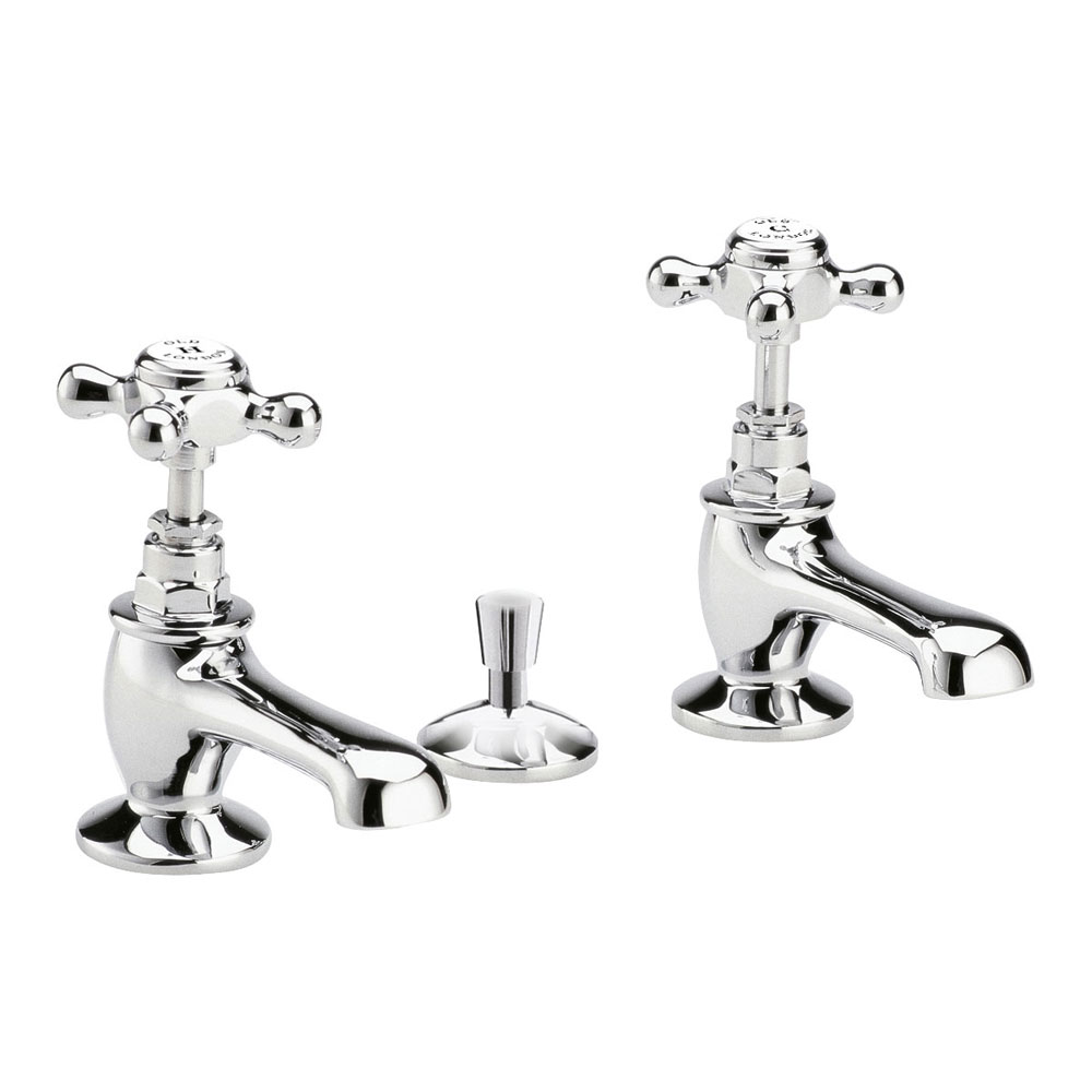 Old London - Chrome Edwardian Basin Taps with Pop-up Waste - LDN308 Large Image