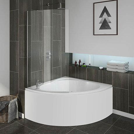 Laguna Corner Shower Bath with Screen + Panel