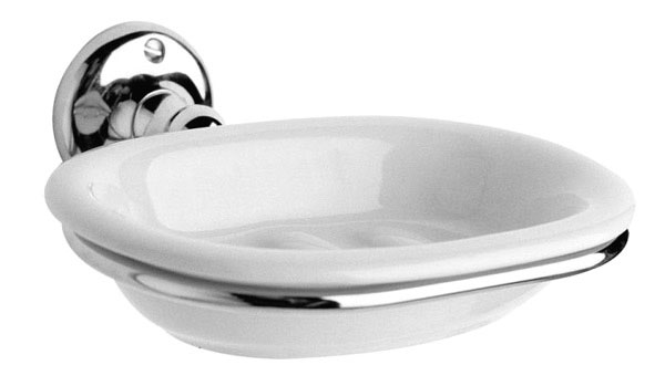 Ultra Traditional Ceramic Soap Dish with Chrome Ring Holder - LH303 Large Image