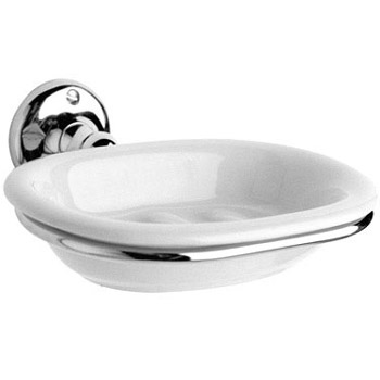Ultra Traditional Ceramic Soap Dish with Chrome Ring Holder - LH303