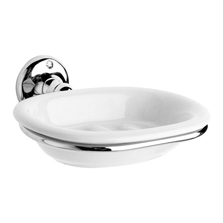 Hudson Reed Traditional Ceramic Soap Dish with Chrome Ring Holder - LH303