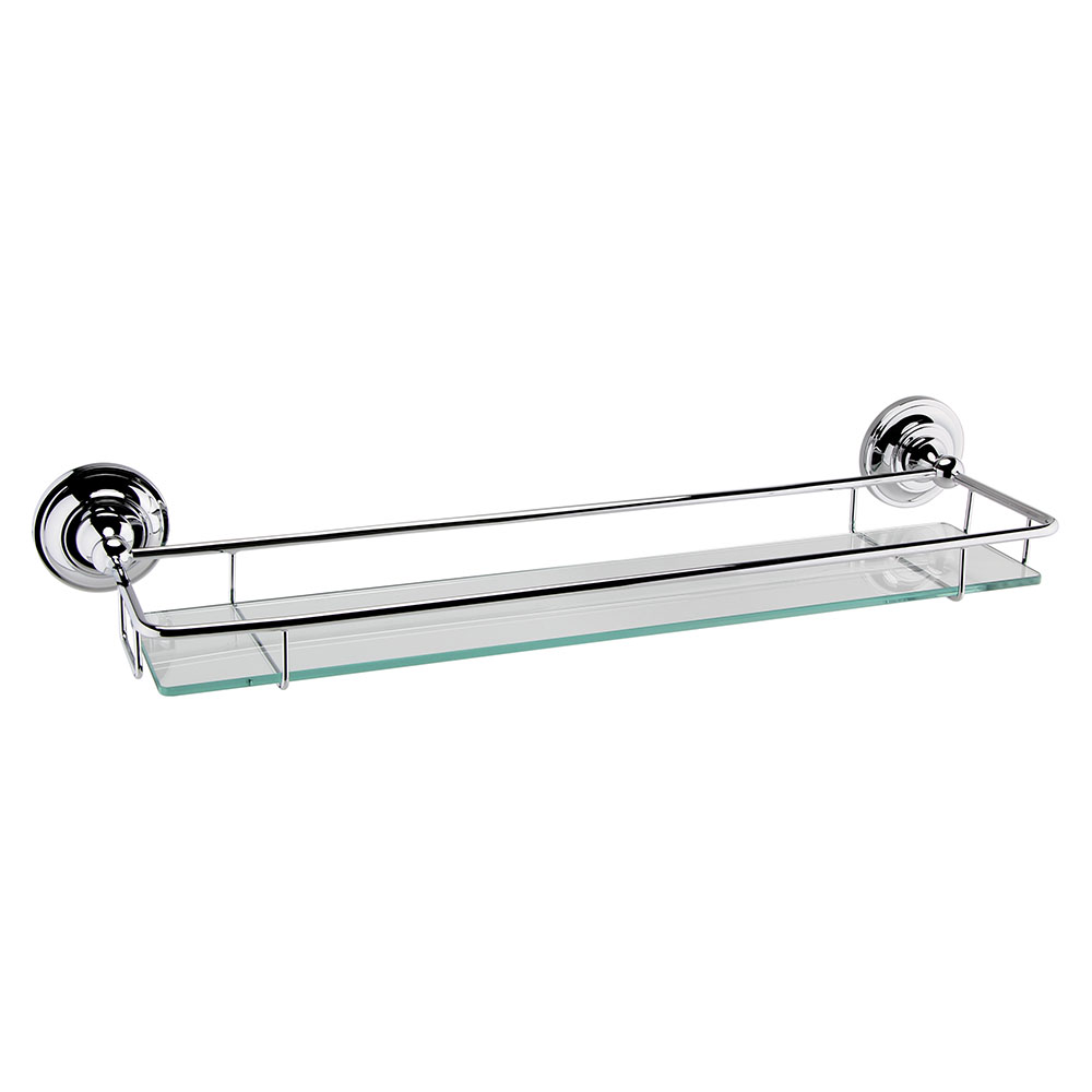 Hudson Reed Traditional Chrome Glass Gallery Shelf - LH305