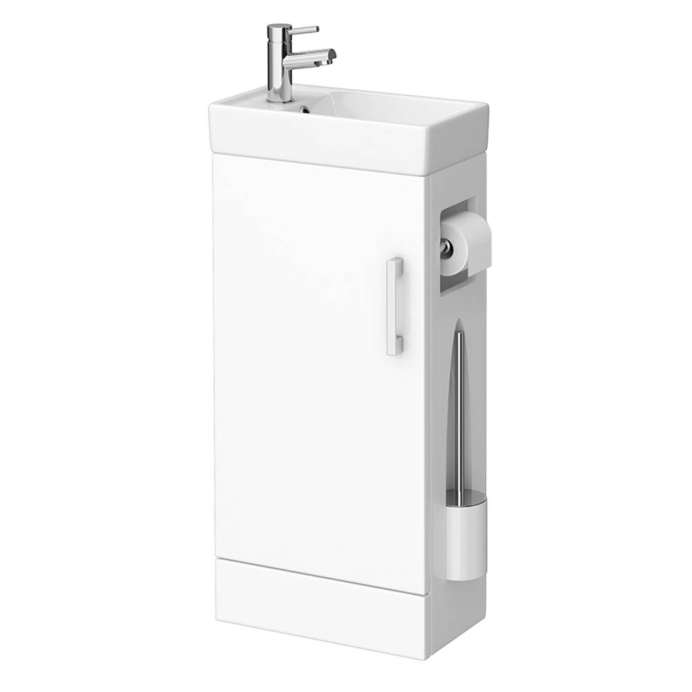 Milan Compact Complete Cloakroom Unit (Gloss White - Depth 220mm) Large Image