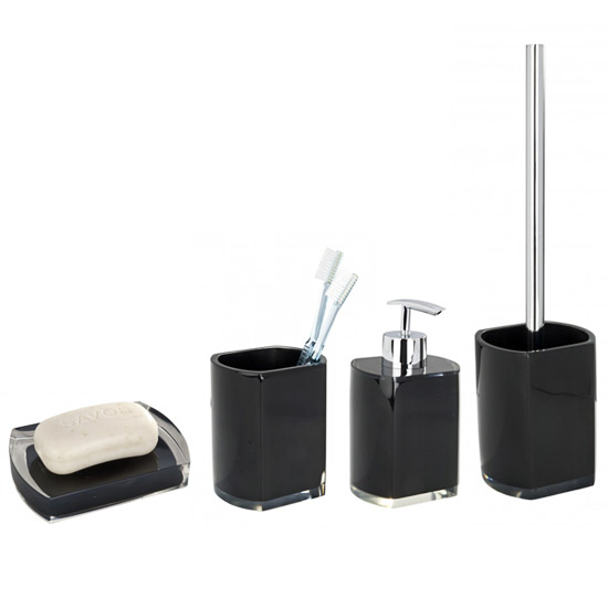 Wenko lido bathroom accessories set black at victorian for Bathroom accessories uk